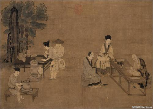 Tea Grinding, by Liu Songnian